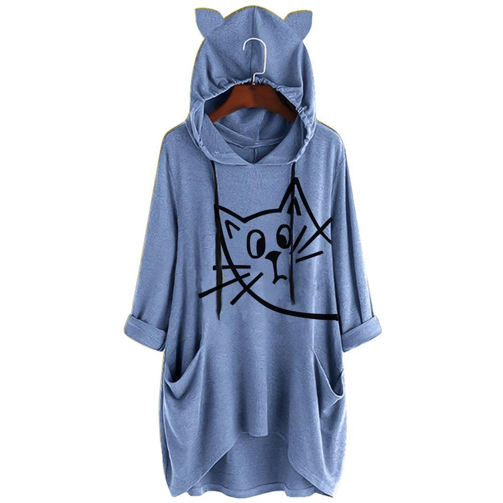 Womens Casual Print Cat Ear Hooded Long Sleeves Tunic Pocket Irregular Top Blouse Shirt