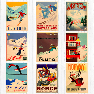 Ski in Alps Australia New Zealand Canvas Painting Vintage Wall Kraft Posters Coated Wall Stickers Home Decoration Pictures Gift(China)