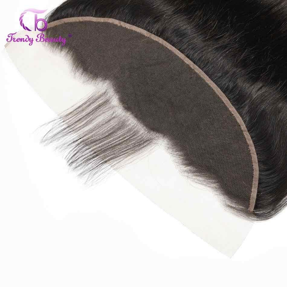 Trendy Schönheit Brasilianische Gerade Haar 3 Bundles Mit 13x4 Spitze Frontal Farbe 1B Nicht-Remy 100% Menschlichen haar Bundles Mit Frontal