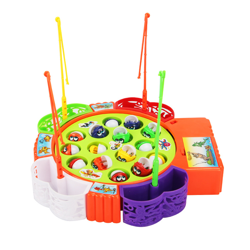 Kids Fishing Toys Electric Music Spinning Fishing Game Children Outdoor Sports Toys Interactive Fishing Board Toy Set Gift