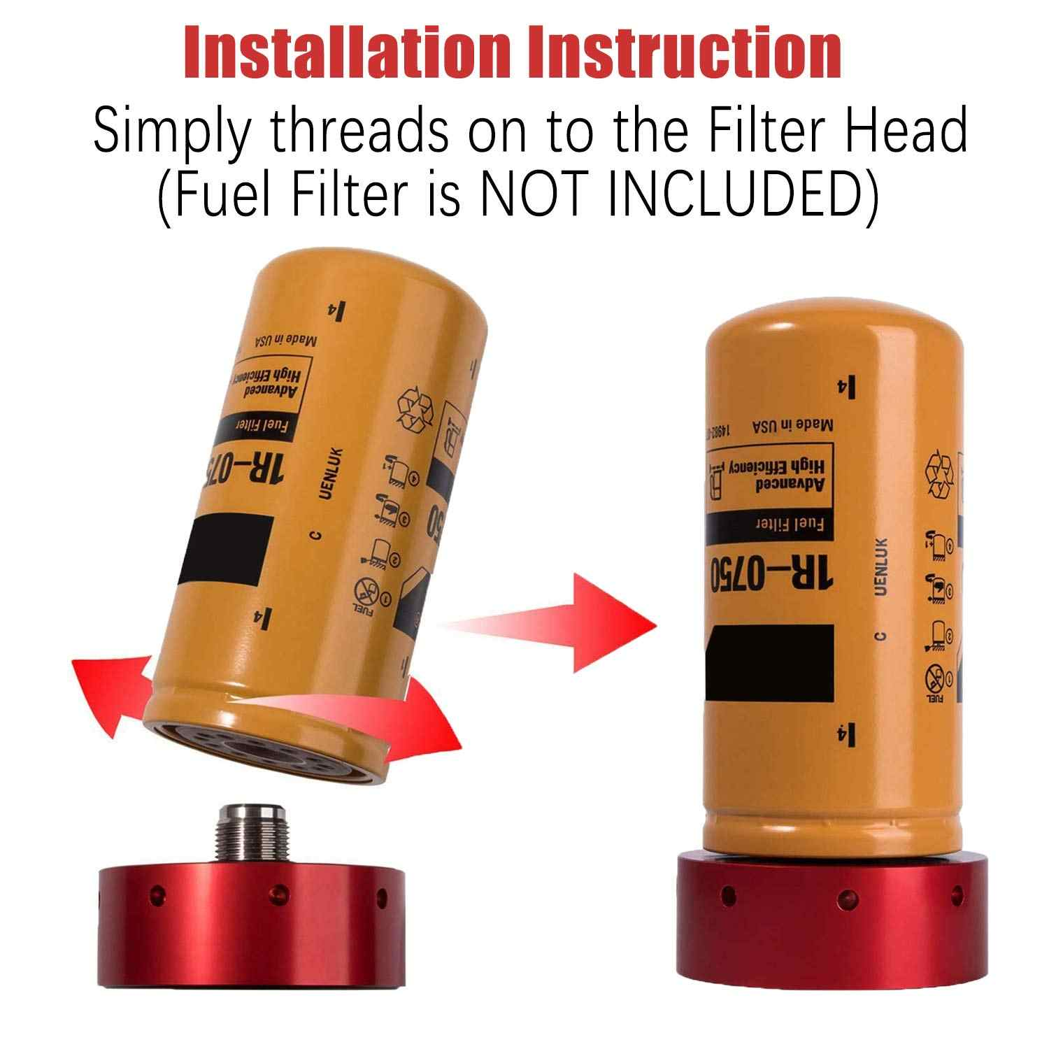RED Fuel Filter Adapter for Chevy//GMC 2001-2016 Duramax Diesel /& CAT 1R-0750