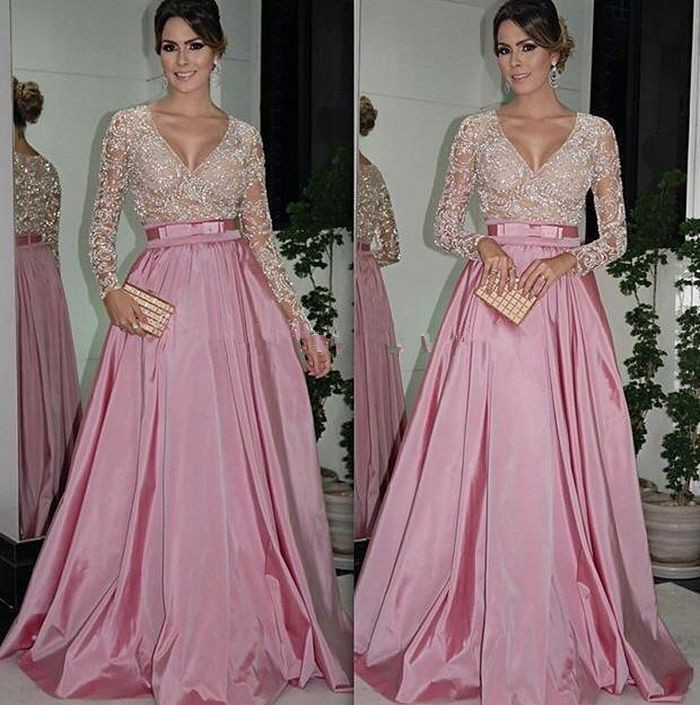 New Arrival Custom Made Evening 2018 Full Sleeve V-Neck Zipper Sweep Train Crystal And Sashes Formal Gown Mother Of Bride Dress