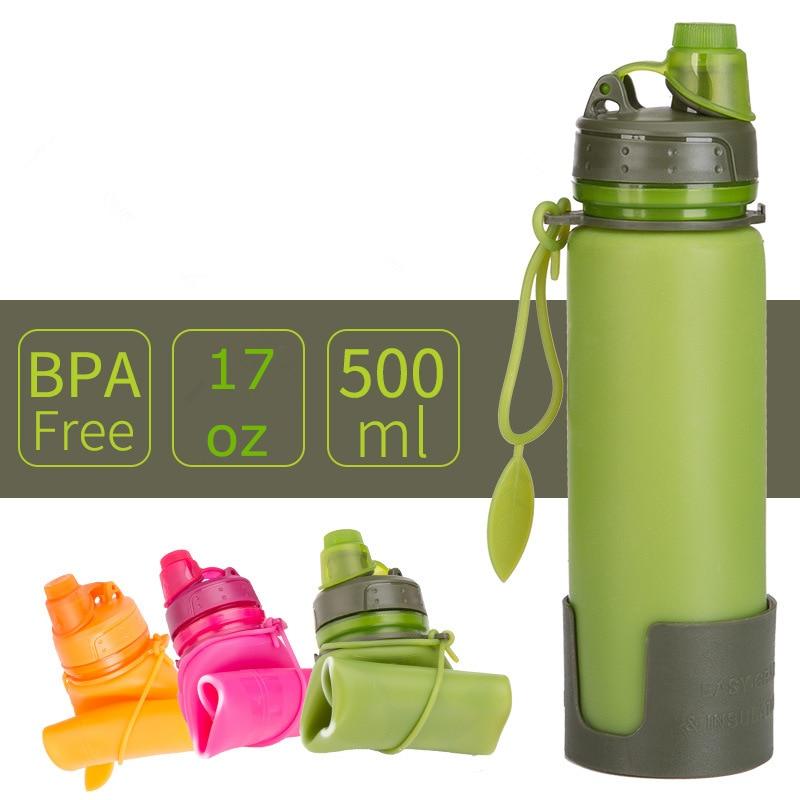 100 sztuk/partia 17oz silikonowe składana butelka na wodę składany sport czajnik teleskopowy kubek podróży kubek 500ml z zamykaną na klucz pokrywa w Bidony od Dom i ogród na  Grupa 1