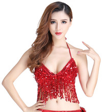 Sequin Show Performance Tops Belly Dance Sequin Bra Nightclub Stage Sequins Tassels Bellydance Costume Dance Costume Leotard(China)