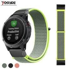 Fenix 6 Soft Nylon Loop Fastener Wristband 22mm Quick Fit Watch Band Strap for Garmin Fenix 5/ 5 Plus/Forerunner935/Instinct