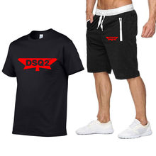 DSQICOND2 DSQ2 Letter t-shirt Shorts Set Men Summer 2pc Tracksuit+Shorts Sets Beach Casual Tops Tee Shirts Sportswears T shirt(China)