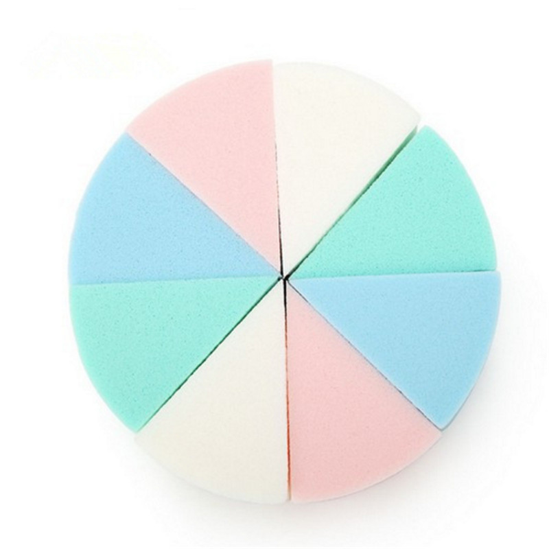 8Pcs/Lot Triangle Shaped Candy Color Soft Magic Face Cleaning Pad Cosmetic Puff Cleansing Sponge Wash Face Makeup Tools(China)