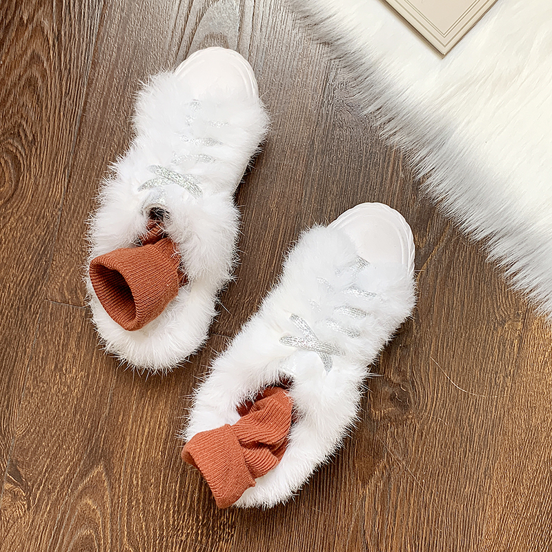 Winter Slippers Shoes Platform Luxury Slides Med Flock Pokemon Plush Shose Women Designer Fur House 2019 Flat with fur Basic 29