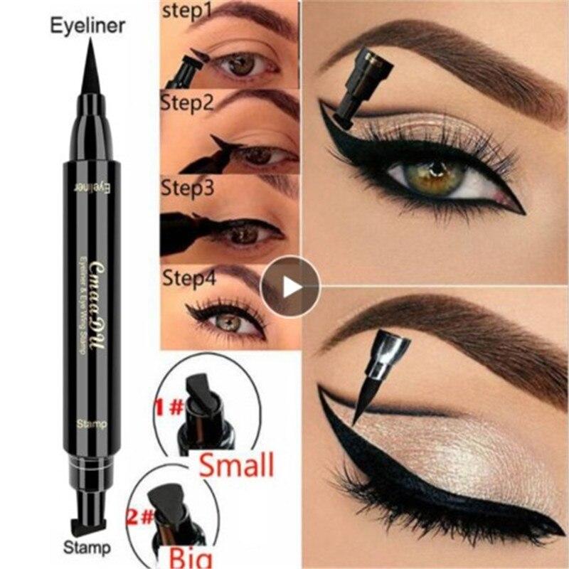 Cmaadu Eyeliner Cosmetics Eyebrow Pencil Waterproof Double Head Liquid Eye Liner Pencil Makeup Cat Style Stamp Eyeliner TSLM1