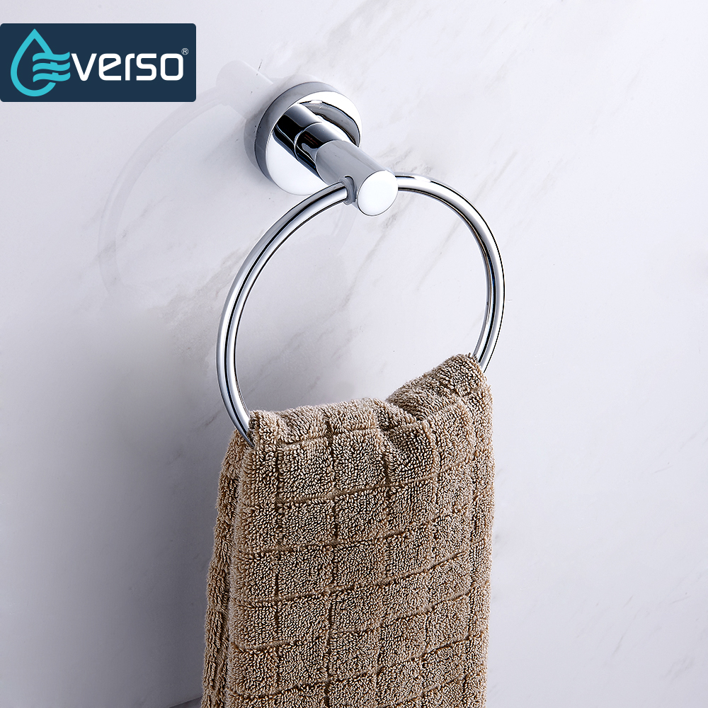 EVERSO Wall Mounted Stainless Steel Toilet Towel Ring Bath Towel Holder Bathroom AccessoriesBath Hardware Hand Towel Holder
