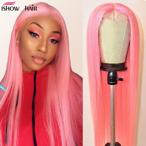 Ishow Pink Lace Front Wig Brazilian Straight Human Hair Wigs 150% Density Bule/Green/613 Blonde Lace Wigs For Women Pre Plucked