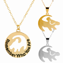 Stainless Steel Pendant Necklace Lion King Baby Simba Shape Cartoon Theme Choker Long Chain Necklaces Jewelry