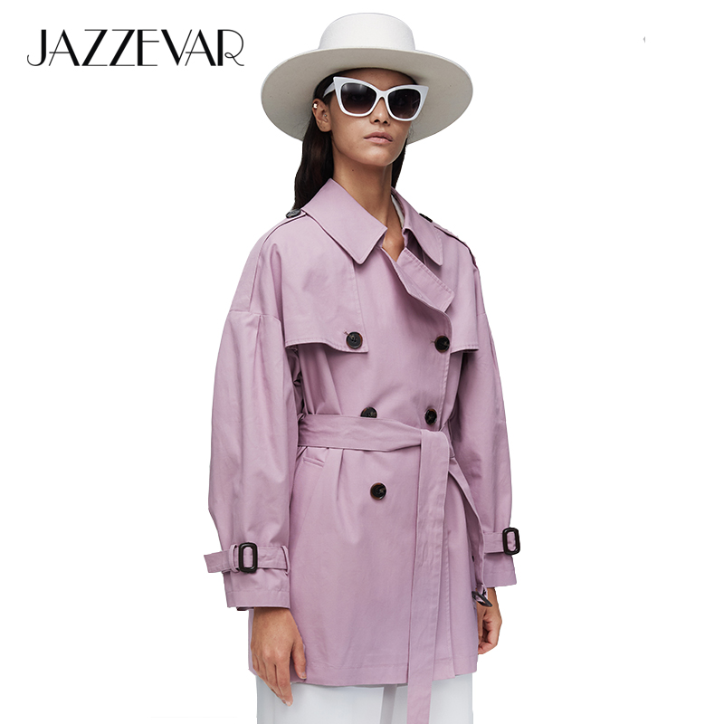 JAZZEVAR2019 New arrival autumn top purple trench coat women waterproof cotton double breasted short fashion women clothes 9010(China)