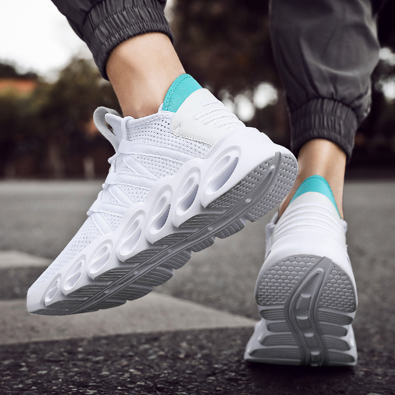 Tout-match nouvelles chaussures de sport pour hommes semelle en caoutchouc semelle en plastique haute chaussures décontractées élastique hommes chaussures décontractées absorption des chocs