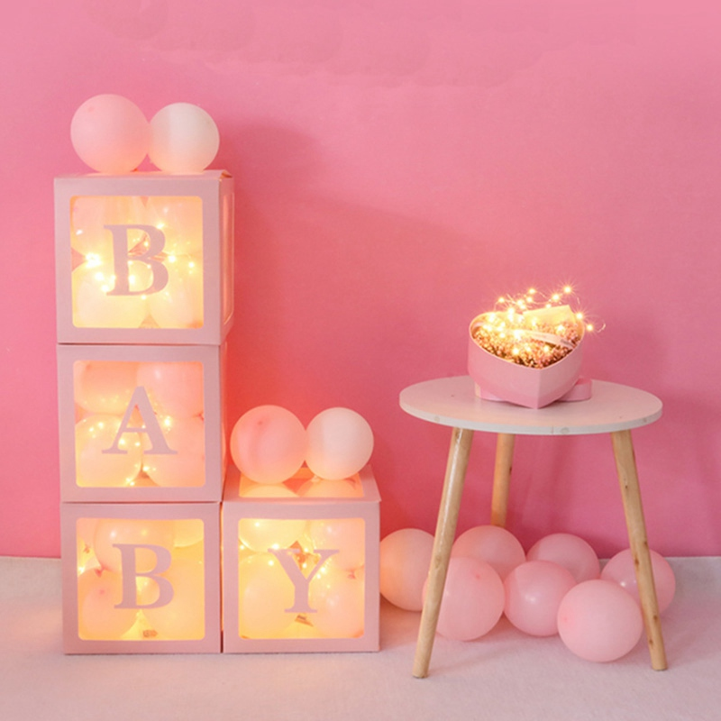 A-Z 26 Letters Transparent Paperboard Box Balloon Box Baby Shower Decorations Boy Girl 1st One Birthday Party Gift Supplies