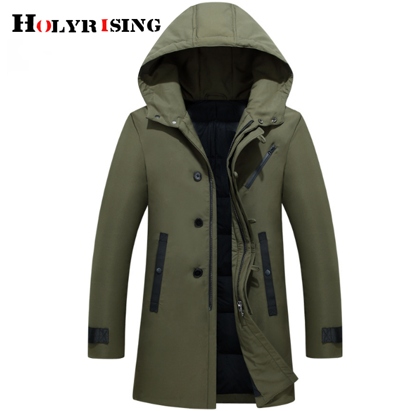 Holyrise 2019 nouveau hiver hommes doudoune élégant mâle vers le bas manteau épais chaud homme vêtements capuche chaud vers le bas manteau 3 couleur 18976 5 - 2