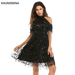 Image 3 - KAUNISSINA Taseel Party Dress Sequins Cocktail Dress Sexy Halter Neck Cold Collar Short Homecoming Robe Celebrity Gown