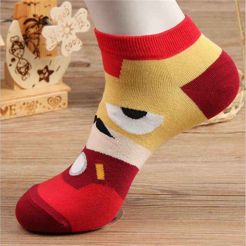 2019 ขายร้อน! ผู้ชายถุงเท้าฤดูร้อนฮีโร่ศิลปะที่มีสีสันถุงเท้าสั้นตลกการ์ตูนถุงเท้าข้อเท้าสำหรับบุรุษ