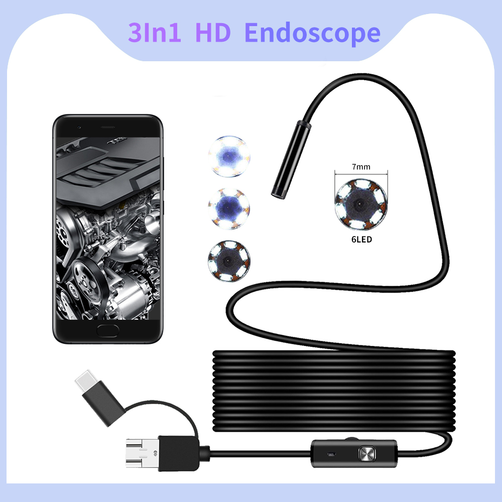 Dodosee Endoscope Camera 7MM 3 In 1 Micro USB Mini Camcorders Waterproof 6 LED Borescope Inspection Camera For Android Loptop