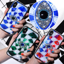 Diamond Jewelled Mystery Eye Case for iPhone 7 8 Plus 6 6s Crystal Glitter Cases X XS Max XR Soft Silicone Cover