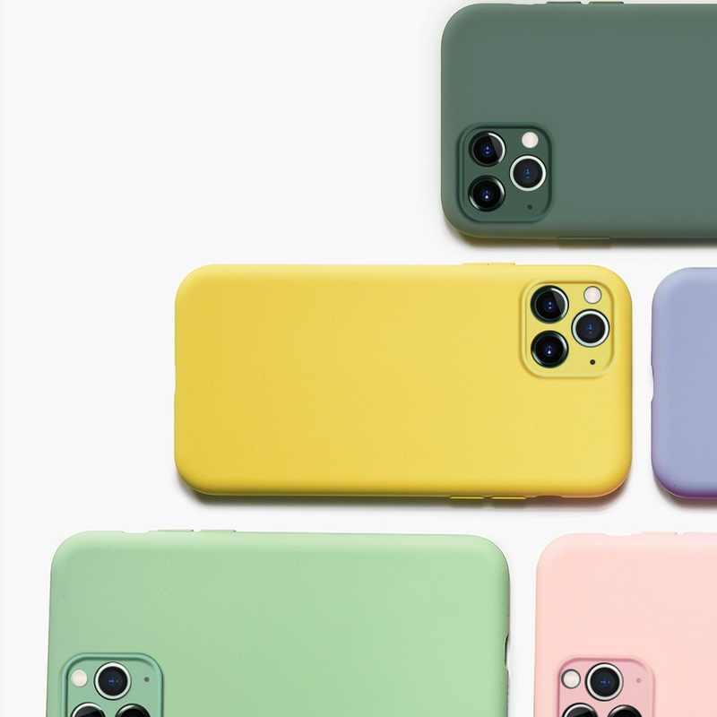 Coque en silicone liquide de luxe pour iPhone 11 Pro Max XS Max XR X 10 7 8 6 6S Plus housse de Protection pour caméra arrière souple