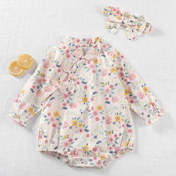 Chiński styl niemowlę śpioszki dla niemowląt dziewczynek z długim rękawem Cheongsam ubrania pajacyki wiosna jesień dziewczynek pajacyki 0-3Yrs tanie i dobre opinie COTTON Drukuj Dla dzieci Skręcić w dół kołnierz Swetry Dziecko dziewczyny Pełna k3435 Pasuje prawda na wymiar weź swój normalny rozmiar