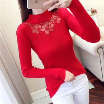 Women Winter half Turtleneck Rhinestone Sweaters Pullovers Lace Spring Sexy Hollow out Autumn Sweater Ladies Long Sleeve Jumpers
