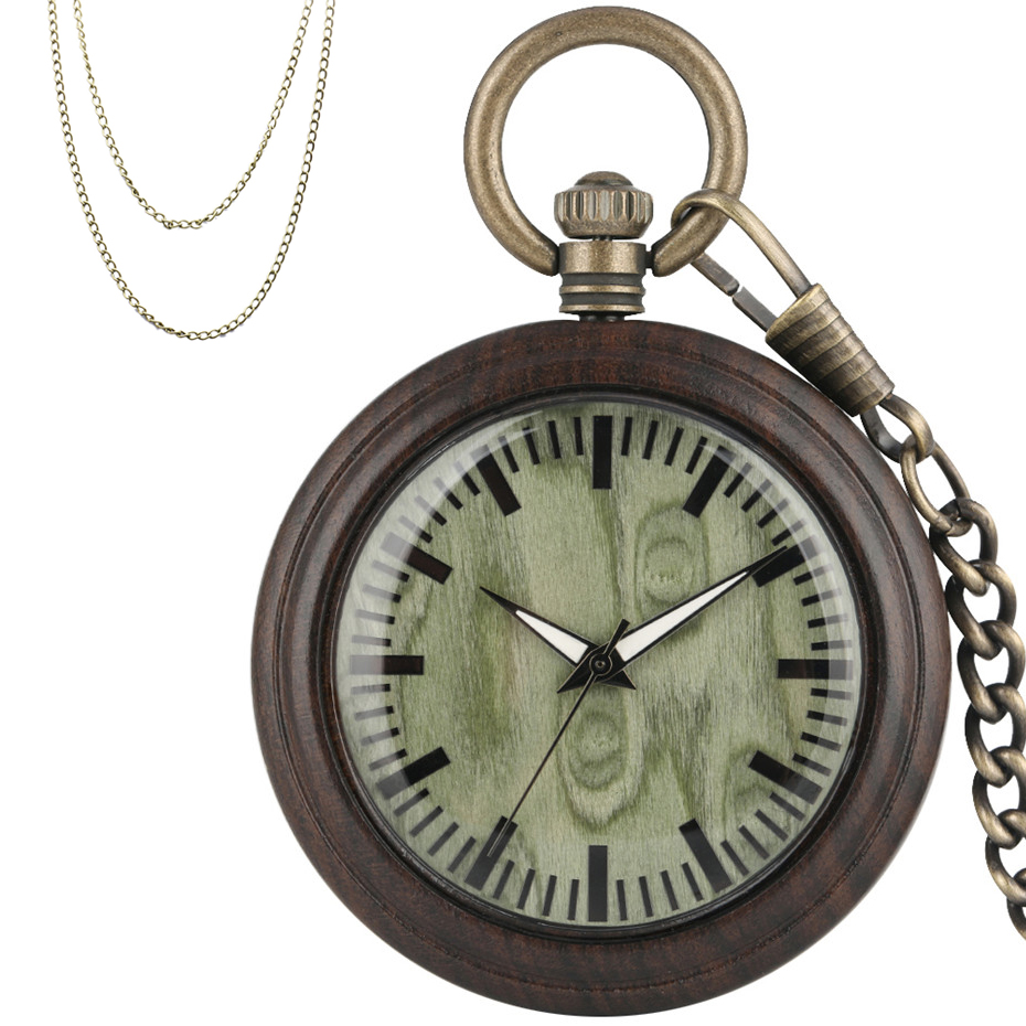 Novel Green Dial Ebony Wood Quartz Pocket Watch Minimalist Retro Pendant Clock With Bronze Hanging Chain + Sweater Chain