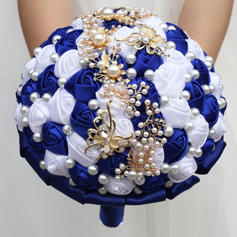 Wedding Flowers Bridal Bouquets Butterfly Jewelry Pearls Bouquet Customizable Ribbon Rose Bridesmaid Wedding Bouquet Party W322G 2