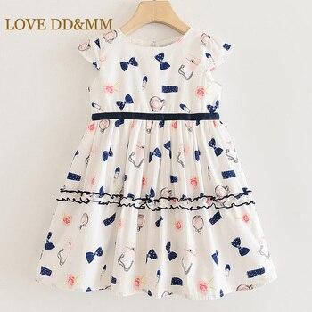 LOVE MM-DD & vestidos para niñas, novedad de verano, ropa para niños, Vestido de manga corta con dibujo de lazo y empalme dulce, 2020