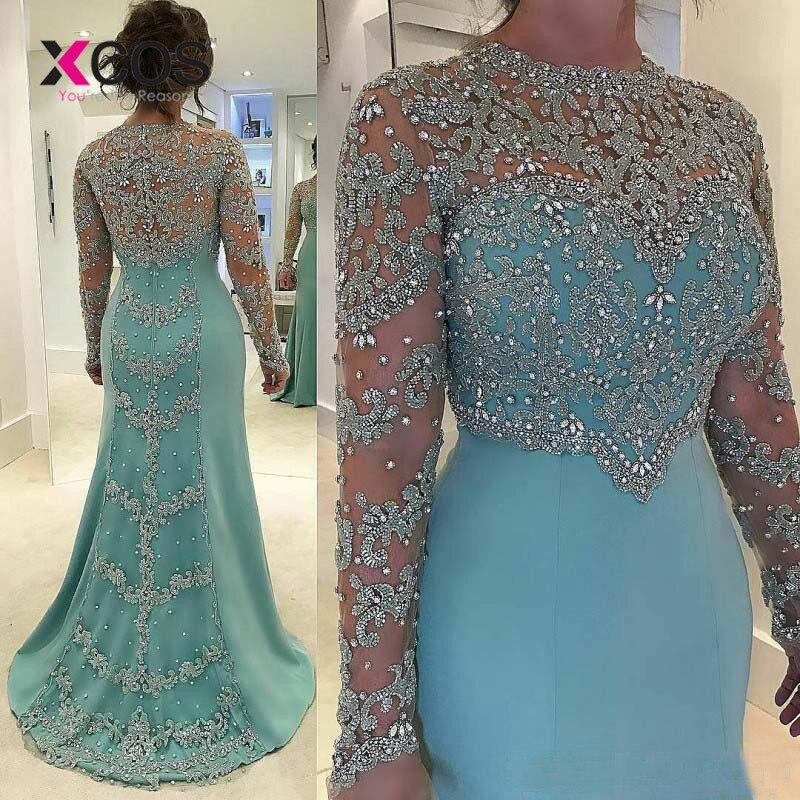 XCOS Vintage Mermaid Blue   Evening     Dress   Long Sleeve Beads Crystal Lace Appliqued Plus Size Bridal Formal   Dress