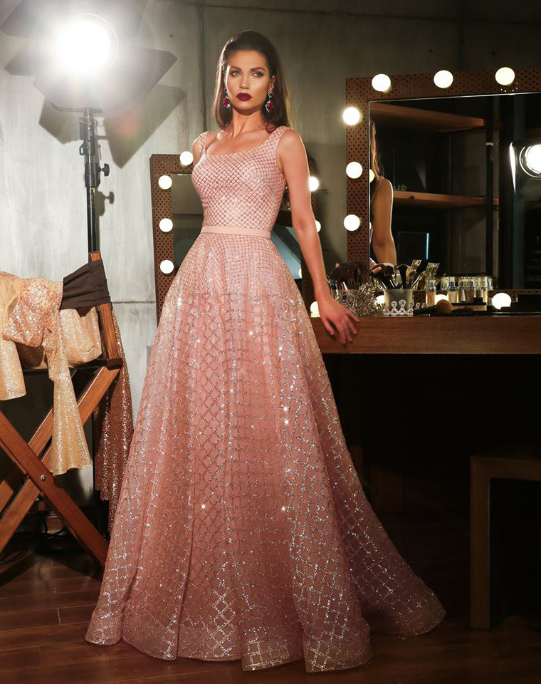 New Evening Dress Long 2020 A-line Sparkly Glitter Sequin Pink Dubai Saudi Arabic Formal Prom Party Gown Robe De Soiree