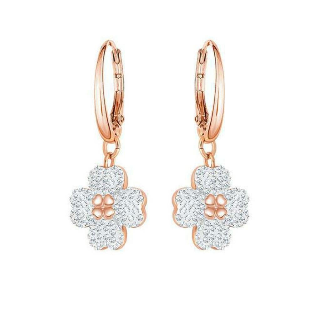 Fashion Jewelry SWA High Quality Cute Four-leaf Clover Dangle Earrings Clover Shape Flower Crystal Earrings For Women