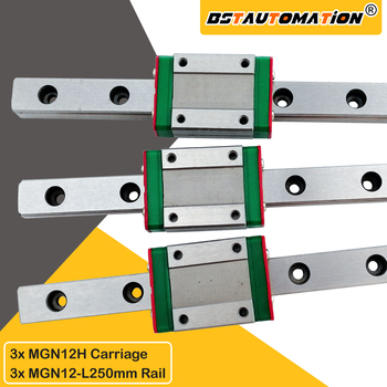 Linear rail 3pcs MGN12 250mm Linear Guide with MGN12H block slide for CNC parts