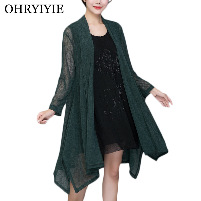 OHRYIYIE Plus Size 5XL Green Loose Cardigan Sweater Women Poncho 2020 Spring Summer Casual Long Thin Knit Sweaters Female Coat