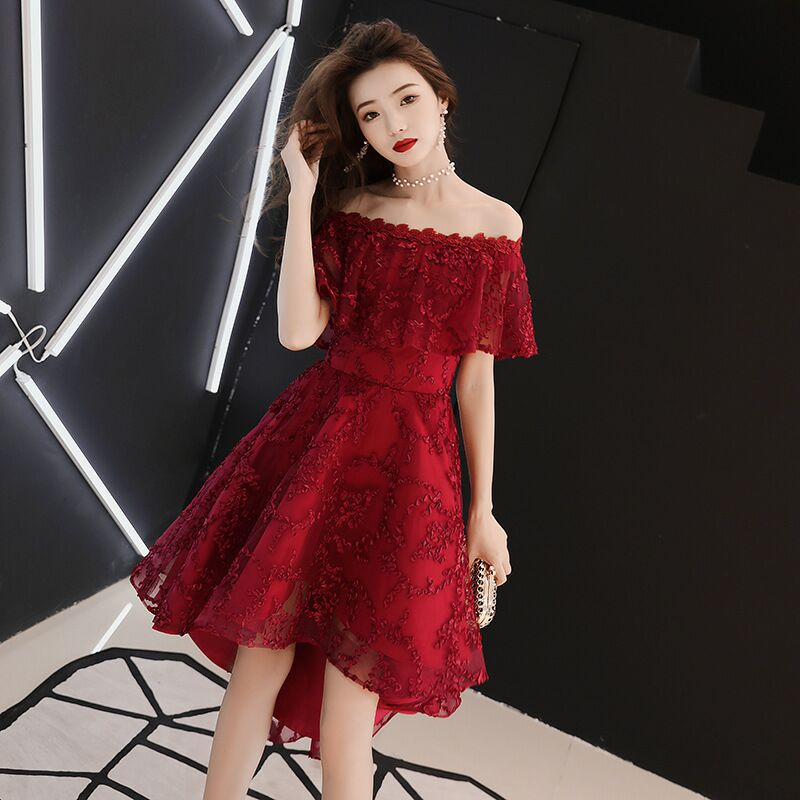 Plus Size Evening Host Short Dresses Lace Up Little Tail Simple Party Gown Soiree Sexy Formal Dress MS-0077