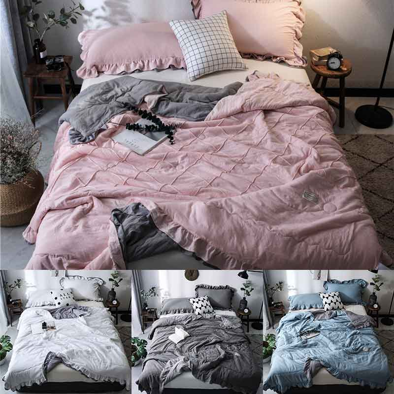 Denisroom Pink Cute Washed Seersucker Summer Quilt Blankets Quilted Bedspread Lace Comforter Bed Cover WE44#