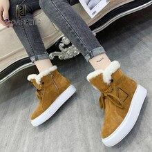 Camurça de vaca real lã redonda toe botas zapatos de mujer 2020 designer marca de luxo sapatos femininos inverno mais veludo botas de neve quente