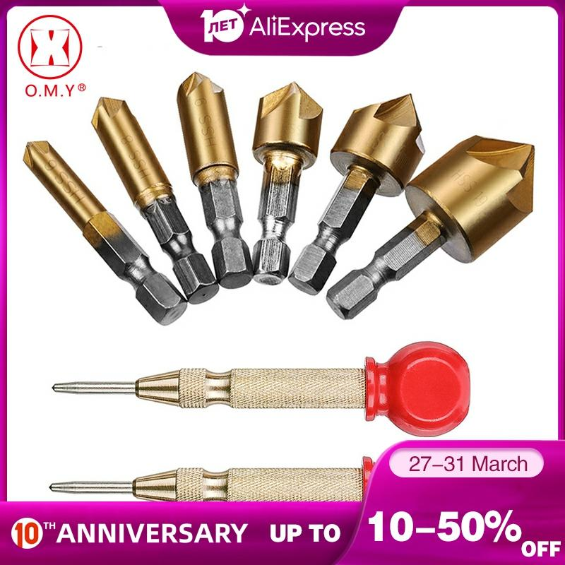 2PC Automatic Center Hole Punch Marker Scribe With Cushion Cap And 6PC Countersink Drill Bit 1/4 Hex Shank 6MM-19MM
