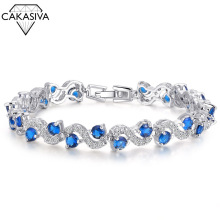 S925 Sterling Silver Bracelet Fashion Luxury AAA Zircon Bracelet Bride Jewelry Engagement Wedding Gift Jewelry Wholesale цена 2017
