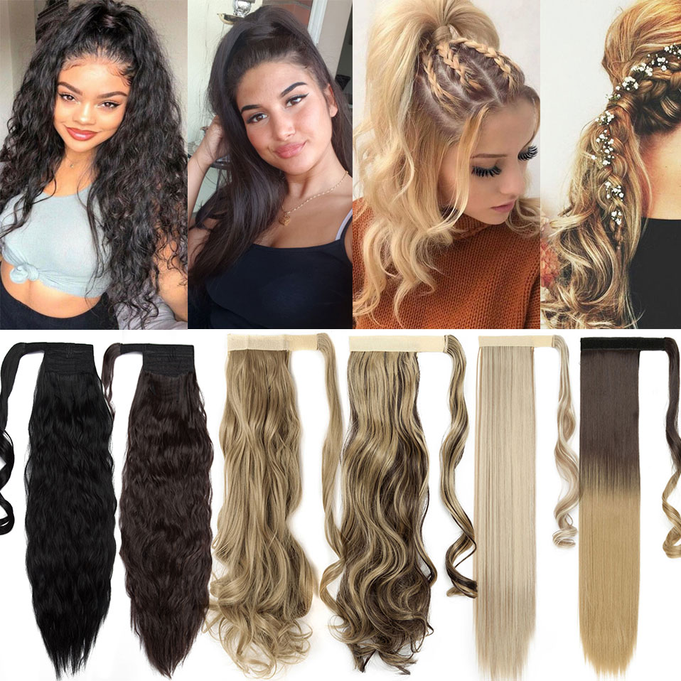 S-noilite 30colors Clip In Ponytail Hair Extension Synthetic False Hair Tail Hairpiece Wrap Around Ponytail Hairpiece For Women