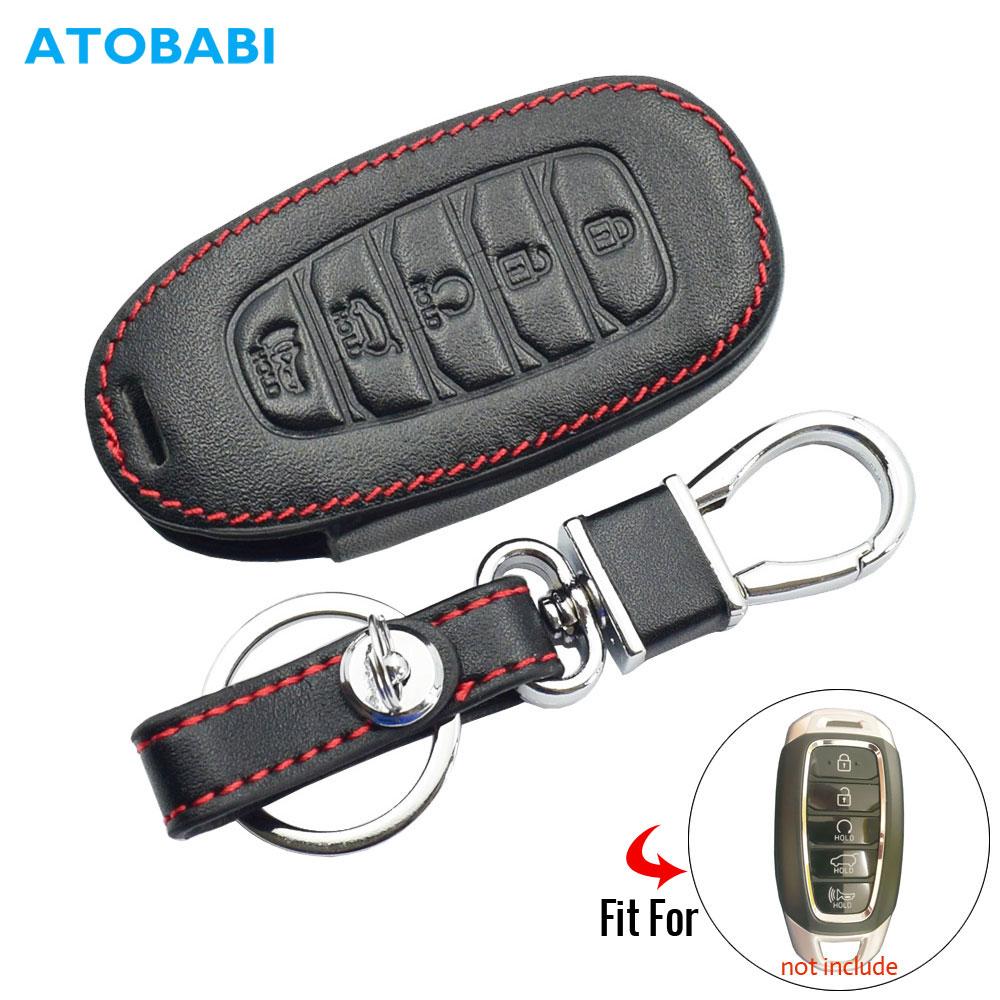 Leather Car Key Case For Hyundai Kona Azera Grandeur IG Santa Fe I30 IX35 Elantra Remote Fob Cover Keychain Bag Auto Accessories