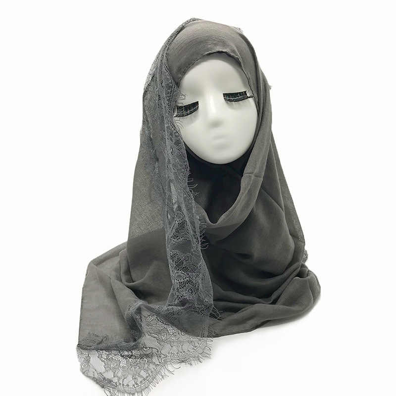 2019 Populer Tepi Renda Syal Jilbab Wanita Polos Maxi Selendang Putih Renda Foulard Lembut Kapas Muslim Jilbab Syal Musulman