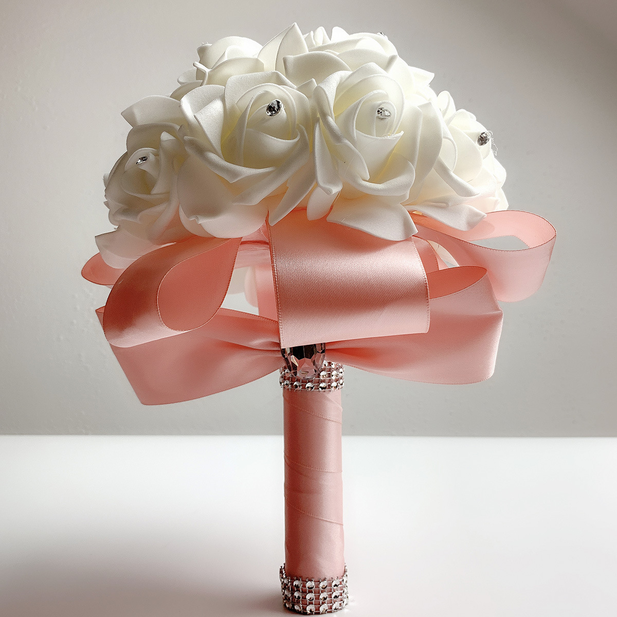 2019 Good Quality Cheapest PE Rose Bridesmaid Wedding Foam flowers Rose Bridal bouquet Ribbon Fake Wedding bouquet de noiva 1