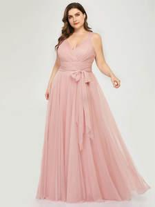 Платья подружки невесты размера плюс Ever Pretty EP07303 Румяна розового цвета а-силуэта с v-образным вырезом из фатина Элегантное Длинное Платье ...