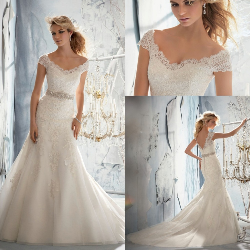 Free Shipping New Arrival 2013 Cap Sleeve Trumpet Lace Wedding Dresses With Beaded Waistband