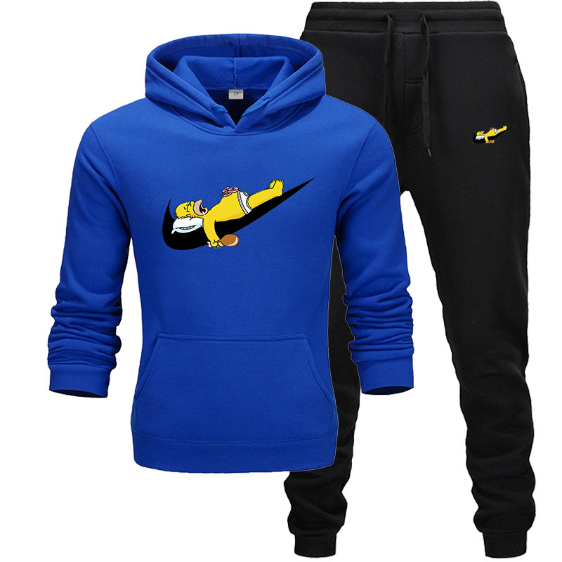 New Fashion Brand Sweatshirt Tracksuit Prints Thermal Men Sports Sets Fleece Thick Hoodie+Pants Sporting Jogger Suits Men Sets