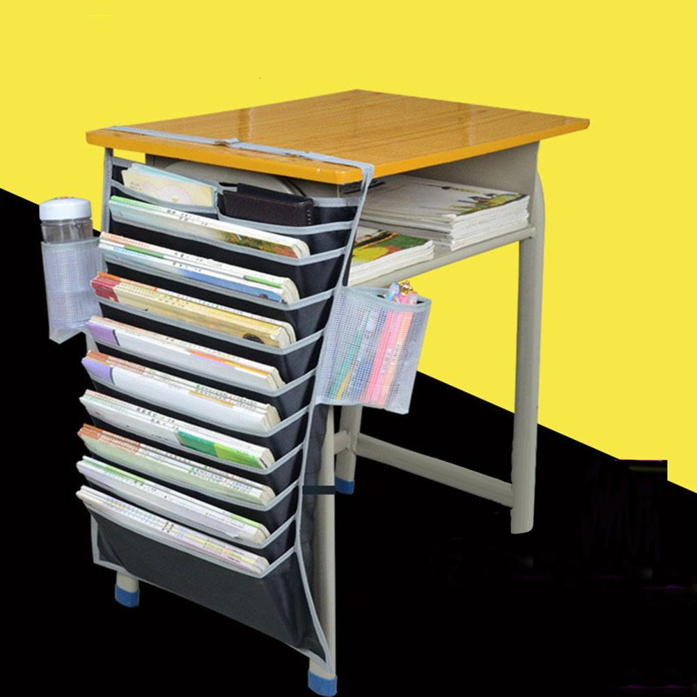 Multi-Pocket Student Table Desk Water Bottle Book Storage Hanging Bag Organizer