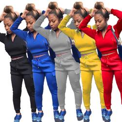 Casual Solid Color Women 2 Piece Set Crop Top Sweater + Long Pants Tracksuit Sportsuit Winter Clothes For Women Outfit