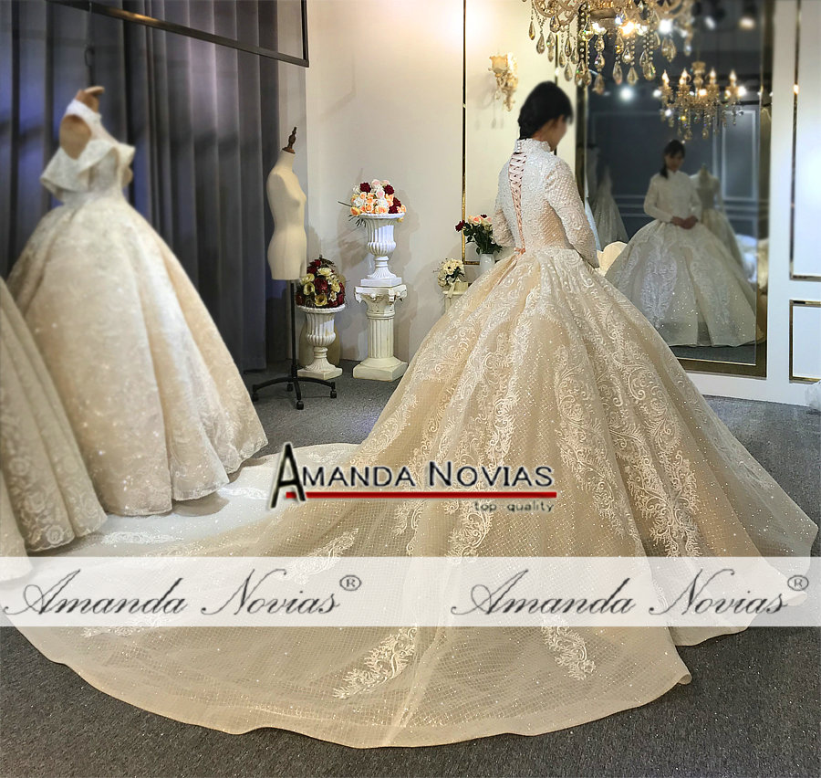 Image 5 - 2020 Champagne color muslim wedding dress cover full lace beading bridal dress for MuslimWedding Dresses   -